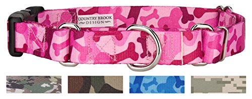 Country Brook Design Pink Bone Camo Martingale with Deluxe Buckle - Large ()