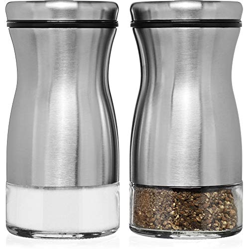 (CHEFVANTAGE Salt and Pepper Shakers Set with Adjustable Pour Holes - Stainless Steel)