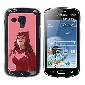 All Phone Most Case / Hard PC Metal piece Shell Slim Cover Protective Case Carcasa Funda Caso de protección para Samsung Galaxy S Duos S7562 red hero woman superhero pink vintage