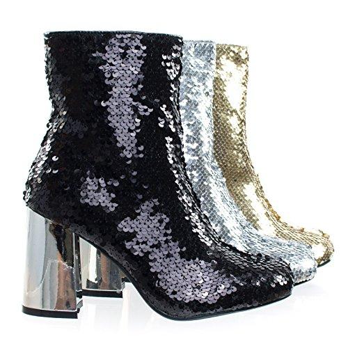 Metallic Party Black Block Bootie Ankle Shoes Heel Sequins Women's OqY8wXYr