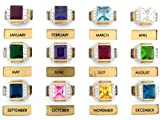 14k Gold Synthetic Birthstone Mens Ring
