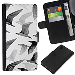 All Phone Most Case / Oferta Especial Cáscara Funda de cuero Monedero Cubierta de proteccion Caso / Wallet Case for Sony Xperia Z1 L39 // Seagulls Birds Flight Painting Art White