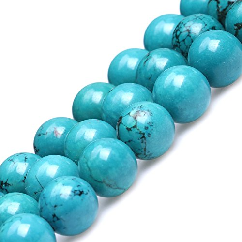 (Turquoise Beads for Jewelry Making Gemstone Semi Precious 12mm Round Blue 15