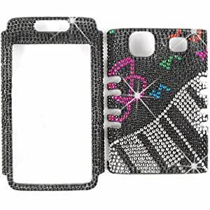 Unlimited Cellular Rocker Snap-On Case for SAMM820 Galaxy Prevail (Full Diamond Crystal MusicNotes&Keyboard)