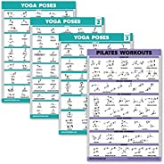 4 Pack: Yoga Poses Posters Volume 1, 2 & 3 + Pilates Mat Work Exercise C