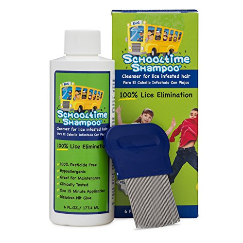 Schooltime Shampoo Head Lice Removal Kit - Safe, Non-Toxic, Chemical ()