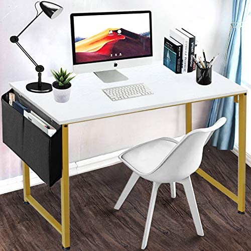 LUFEIYA Small Computer Desk White Writing Table for Home Office Small Spaces 39 Inch Modern Student Study Des with Gold Legs,White Gold