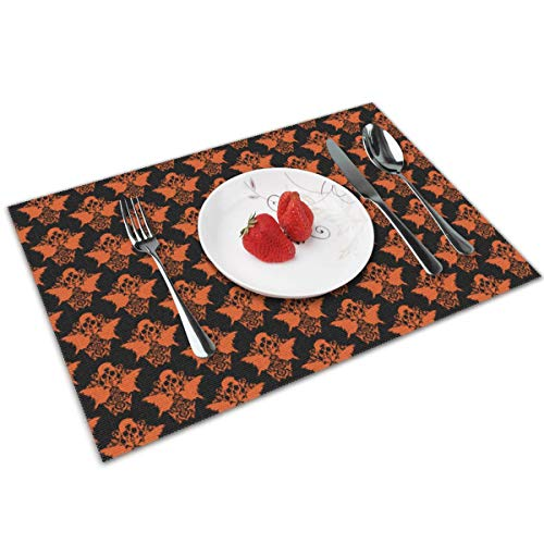 chang jin you Placemats Set of 4,Skull Raven