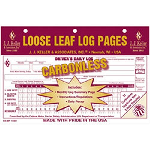 J.J. Keller - Driver's Daily Log with 7 and 8 Day Recap, Carbonless, pack of 24