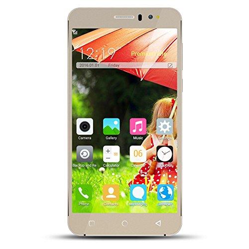 Kivors K700 6.0'' Unlocked Smartphone Advance Android 5.1 - Unlocked Dual Sim Cell Phones MT6580 Quad Core ROM 8GB Dual Camera GSM/3G Quadband Android Phones WiFi Bluetooth SIM-Free (Gold) by Kivors