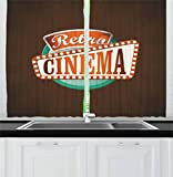 Ambesonne Movie Theater Kitchen Curtains, Retro Style Cinema Sign Design Film Festival Hollywood Theme, Window Drapes 2 Panel Set for Kitchen Cafe, 55 W X 39 L Inches, Brown Turquoise Vermilion