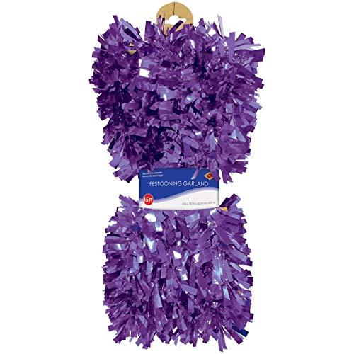 Beistle 50281-PL 6-Ply Flame Resistant Purple Metallic Festooning Garland, 4