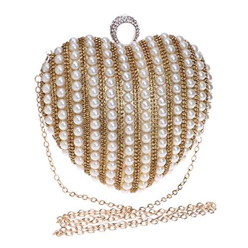 messenger oro da colore nuziale cerimonia europea da sera moda americana sera banchetto cuore da oro a vestito Vola da squisita borsa borsa donna borsa perla forma pochette di e faBx6nq
