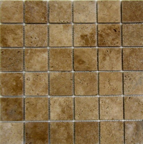 2x2 Noche Noce Tumbled Travertine Mosaics Meshed on 12