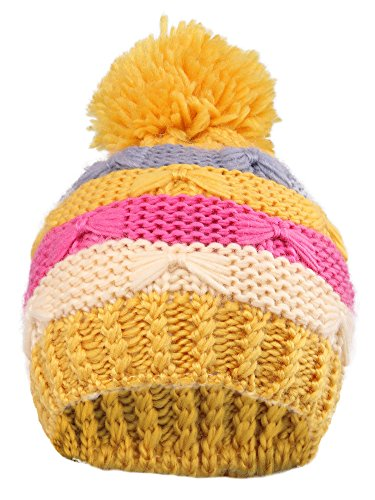 Girls Paw Kids' Super Chunky Striped Knit Beanie with Yarn Pompom, Yellow Striped