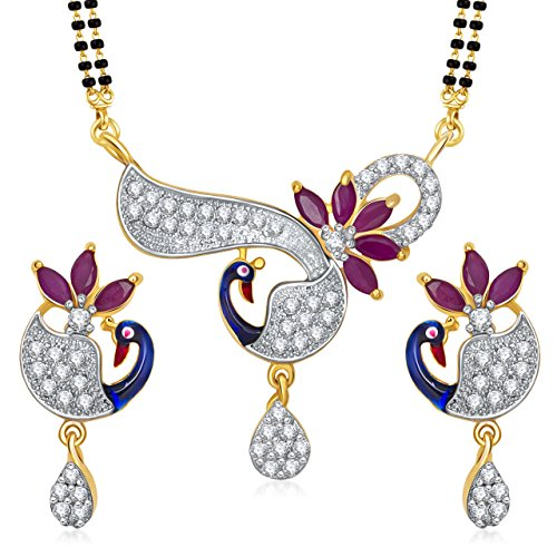 [MEENAZ Women's Peacock Simulated Diamond Ruby Gold Plated Meenakari Mangalsutra Set White] (Bollywood Costumes For Men)
