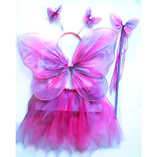 Blue & Green Neon Fairy Butterfly Costume Tutu Set (4 Pc) (Sized for Children 2 - 5 years, Purple/Pink (Girls Pink Fairy Costume)