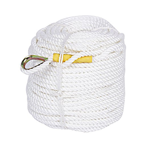 Rope Nylon Yacht Braid (Estink Nylon Anchor Rope Line,90m 1/2-Inch Diameter Poly Rope Twisted Polypropylene Cord for Truck Yacht Boat Sailing Climbing Rope, White)