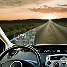 Multi-Color HUD Head-Up Display In Car 5.5 Inches Employ Nano Technology for Glare Removal and Clear Display without Reflection Film Display Speed, RPM, Overspeed Warning, Instantaneous fuel consumption, automatic display brightness control