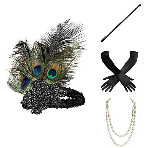 BABEYOND 1920s Flapper Gatsby Costume Accessories Set 20s Flapper Headband Pearl Necklace Gloves Cigarette Holder (Set-1) -