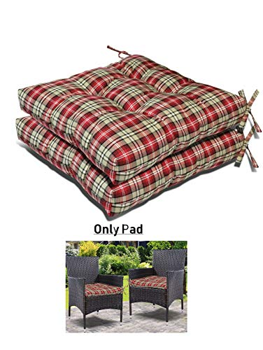 Prettyshop4246 Set of 2 Seat Pad Red Stripe Soft Cushion Pad Indoor Outdoor Made in USA Factory Furniture Decorative Patio Lawn Backyard Garden Poolside Balcony Utility Vintage Sit Put on Floor Chair (Best Furniture Usa In)