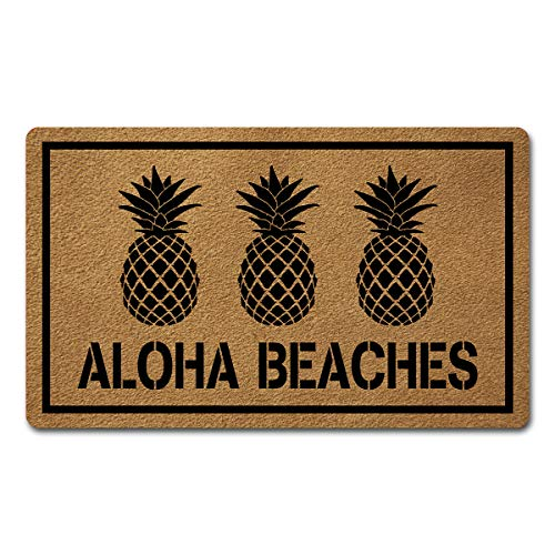 Welcome Door Mats for Home Decor (18 x 30 inch) Funny Mats with Anti-Slip Rubber Back Kitchen Rugs Personalized Doormat for Entrance Way (Aloha Beaches Pineapple) (Decor Pineapple Welcome)
