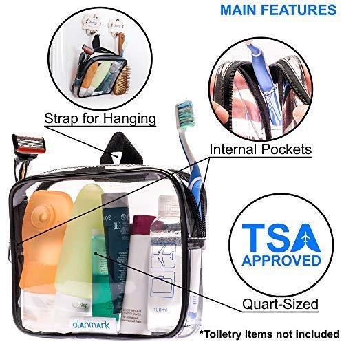 TSA Approved Toiletry Bag 3-1-1 Clear Travel Cosmetic Bag with Handle – Quart Size Bag with Zipper – Carry-on Luggage Clear Toiletry Bag for Liquids – Airport Airline TSA Compliant Bag for Man Women