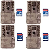 Moultrie A30i 12MP 60 Video No Glow Game Trail Camera, 4 Pack + 16GB SD Cards