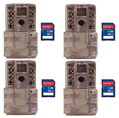 Moultrie A-30i 12MP 60-Foot HD Video IR Game Camera 4 Packs + 16GB SD (Ir Game)