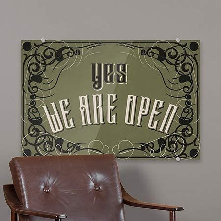 | 18x12 We are Open -Victorian Gothic Premium Acrylic Sign 5-Pack CGSignLab |Yes