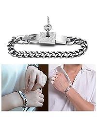MLOVE Jewelry Titanium Steel Love Heart Lock Bangle Bracelet Matching Key Pendant Necklace Set Lover Gift