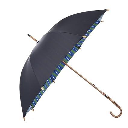Paraguas cortavientos de doble capa Protección contra el sol curvada Real Wood para mujer (Color