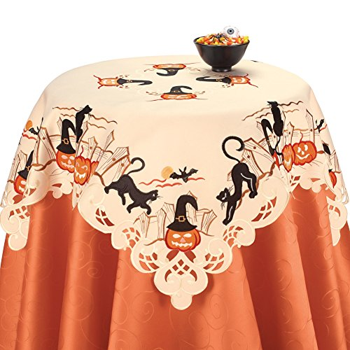 Cat and Pumpkins Halloween Table Linens