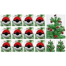 "Pokemon Go 12 Piece MINI Red Poke Ball Christmas Tree Ornament Set - Unique Shatterproof Plastic Design Around 1.5"" Tall and Wide"