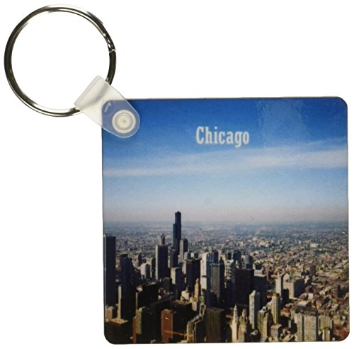 3dRose Image of Chicago Skyline from The Air with Chicago in Text Key Chains, Set of 2 (kc_171753_1)