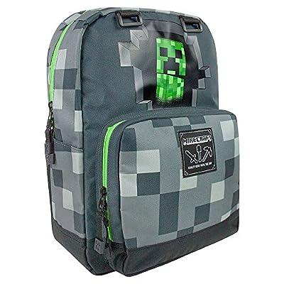 "JINX Minecraft 17"" Creepy Creeper Kids Backpack - Grey"