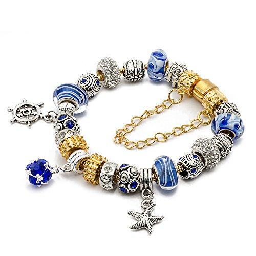 Gold Tone Blue Glass Beads (RUBYCA Gold Tone European Charm Bracelet 7.9