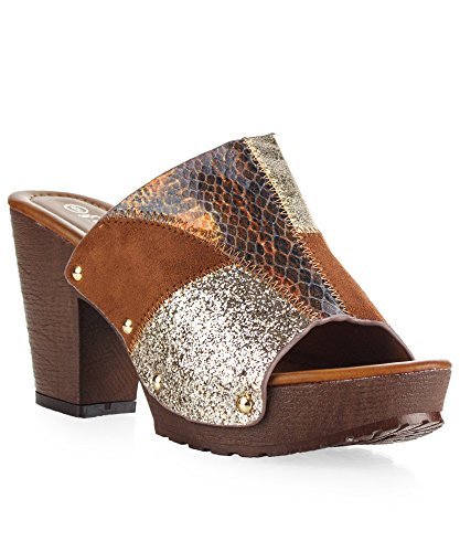 Miami Clog - RF ROOM OF FASHION Women's Studded Patchwork Snakeprint Embossed Slip on Peep Toe Chunky Heel Mule Sandals Tan (8)