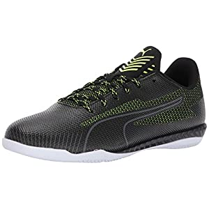 PUMA Men's 365 Ignite CT Soccer Shoe, Black Black-Safety Yellow White, 10 M US