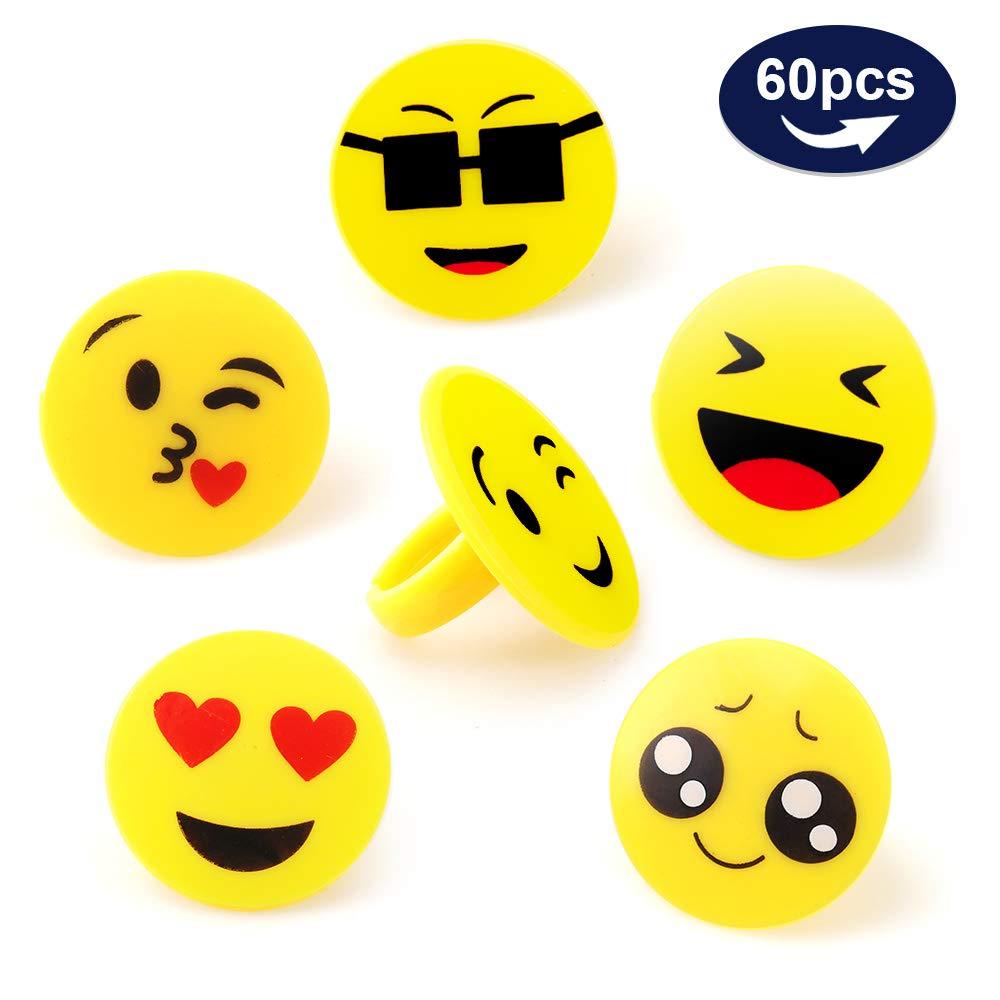 Amazon.com: Amy & Benton 60pcs Emoji Anillos Para Niños Y ...