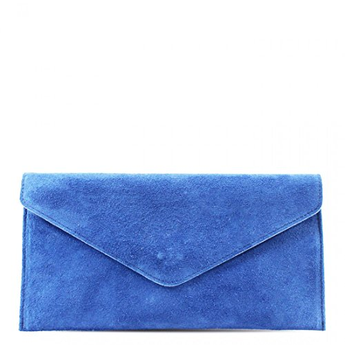 Wedding Purse Party Bag Handbag Envelope Suede Designer Clutch Blue Bag Genuine Crossbody Leather Italian Ppw8FFv