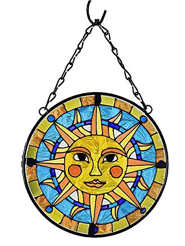 Gift Craft Iron and Stained Glass Suncatcher Celestial Sun 6