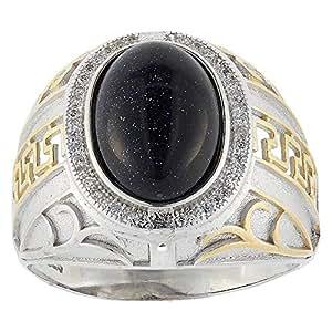 Aurora Men's Silver Aqeeq Black Ring