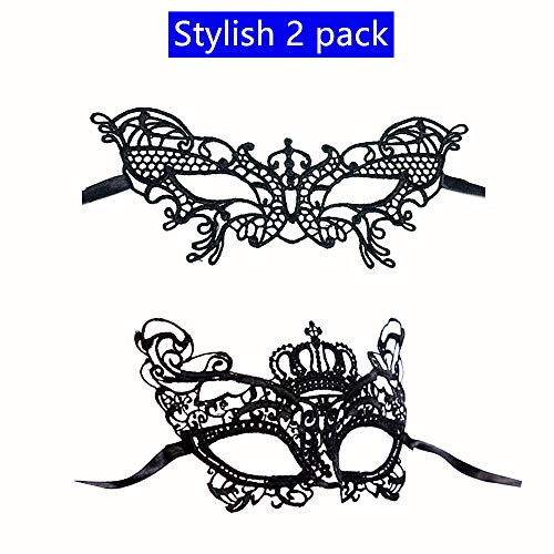 Cute 2 Pack One Fits For All Lace Mask For Masquerade Ball, Theme Party,Halloween Party,Office Masquerade Party,Mardi Gras,]()