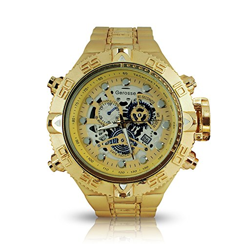 Gerosse Men's Luxury Big Face Golden Stainless Steel Calendar Mens Watch, Over Size Metal Band Gold Watch, Three sub-dials Quartz Wrist Watch, Hip Hop Watch