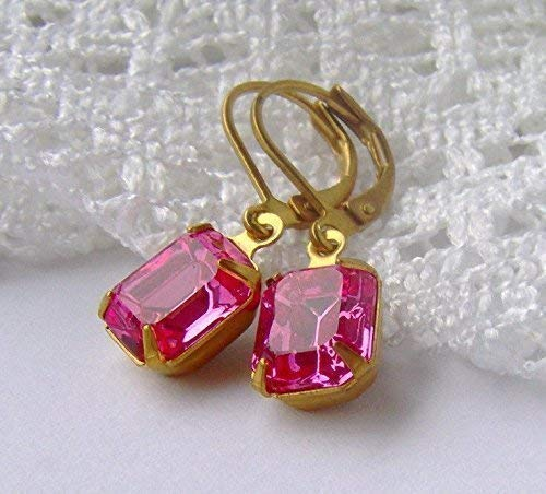 Pink Rhinestone Dangle Leverback Earrings made with Swarovski crystals
