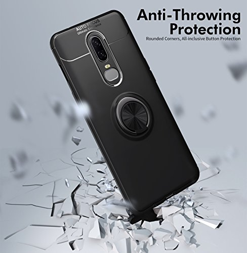 OnePlus 6T Case with HD Screen Protector,I VIKKLY Slim Flexible and Durable Soft [TPU] 360 Degree Rotating Ring Kickstand Shockproof Case Fit Magnetic Car Mount for OnePlus 6T 6.4'' (2018) (Red) by I VIKKLY (Image #9)