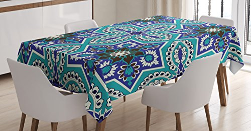 Persian Decorative Arts (Arabian Decor Tablecloth by Ambesonne, Arabesque Pattern Tradicional Islamic Art Geometry Decorative Persian Damask Art, Dining Room Kitchen Rectangular Table Cover, 52 X 70 Inches)