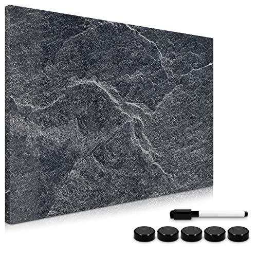 Navaris Tablero de Notas magnetico - Pizarra con diseno de Piedra Negra - Pizarra magnetica con Marcador Negro y 5 imanes