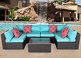 Do4U Patio Sofa 7-Piece Set Outdoor Furniture Sectional All-Weather Wicker Rattan Sofa Turquoise Seat & Back Cushions, Garden Lawn Pool Backyard Outdoor Sofa Wicker Conversation Set (7555-Turquoise)